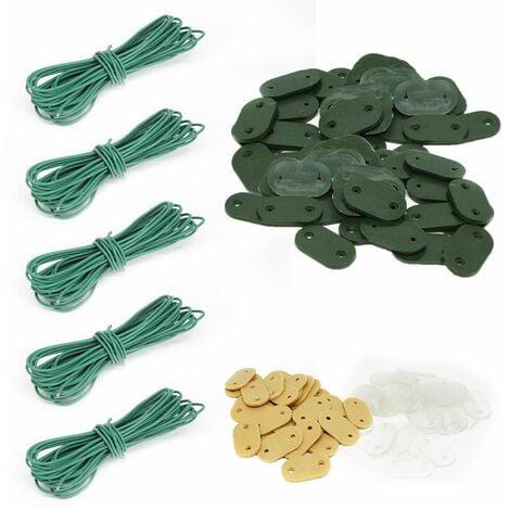 Lot de 5 kits de fixation pour brise vue, canisse anti-UV - 30 plaquettes + 4.20 m de fil - Vert - Linxor