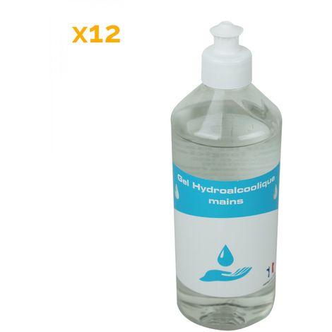 Lot de 12 Gels désinfectants pour les mains hydroalcoolique - 500 ml - Vivezen