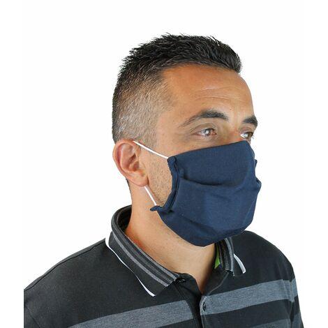 Lot de 10 masques de protection visage lavable, réutilisable 3 couches en tissu - Bleu marine - Certifié UNS1 - Vivezen