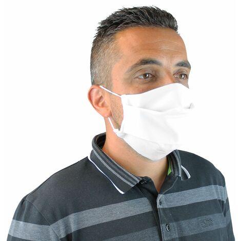Lot de 10 masques de protection visage lavable, réutilisable 3 couches en tissu - Blanc - Certifié UNS1 - Vivezen