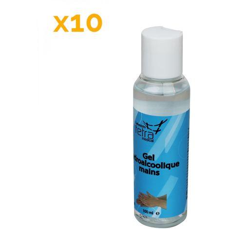 Lot de 10 Gels désinfectants pour les mains hydroalcoolique - 100 ml - Vivezen