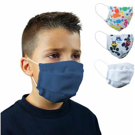 Lot de 2 masques de protection visage lavable pour enfant, réutilisable, 3 couches en tissu - Bleu Marine - Certifié UNS1 - Vivezen