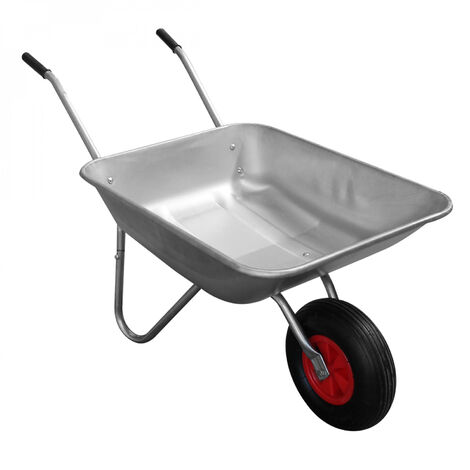 Brouette de jardin à roue pneumatique charge max 250 Kg - Galvanisée - 75 L - Linxor