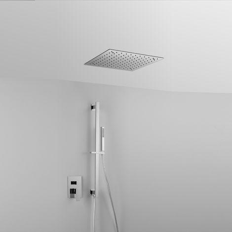 Élégante composition ARES avec pomme de douche au plafond « SKY SQUARE » (code 44430), barre de douche + douchette + mitigeur 2 sorties