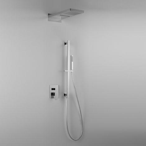 Élégante composition ARES avec pomme de douche TWIN (code 44414) effet pluie / cascade, barre de douche + douchette + mitigeur 3 sorties