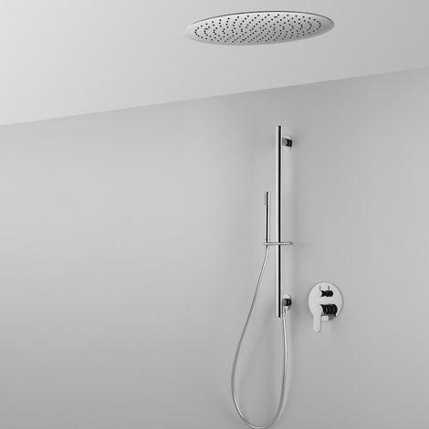 Composition ARES (code 43339) avec tête de douche ronde encastrée au plafond, barre de douche, douchette et mitigeur – 2 sorties-