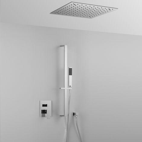 Élégante composition ARES avec pomme de douche encastrée au plafond (code 42830) effet pluie + douchette + mitigeur 2 sorties + barre de douche
