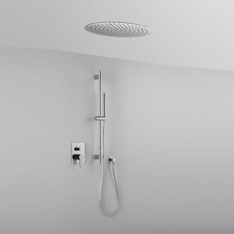 Composition ARES (code 41339) avec tête de douche ronde encastrée au plafond, barre de douche, douchette et mitigeur – 2 sorties-