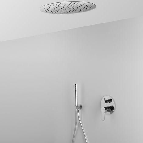 Composition ARES avec pomme de douche ronde encastrée au plafond + douchette et mitigeur - 2 sorties (code 25339)