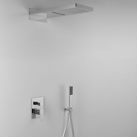 Élégante composition ARES avec pomme de douche TWIN (code 22814) effet pluie / cascade + douchette + mitigeur 2 sorties