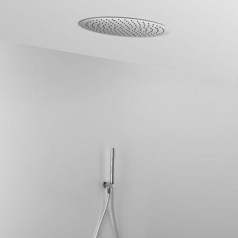 Composition ARES avec pomme de douche ronde encastrée au plafond + douchette.(code 15339)