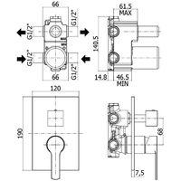Mitigeur pour douche 2 sorties à encastrer Paffoni RED - chromé (code RED018CR)