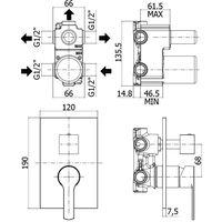 Mitigeur pour douche 3 sorties à encastrer Paffoni RED - chromé (code RED019CR)