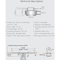 Caniveau de douche Tekness de 1200 mm. Grille Acier inox (code BD-120-Z)