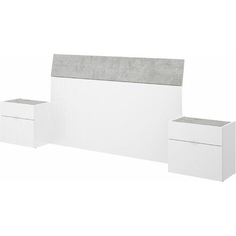 Cabezal Gia con 2 mesitas Blanco - Cemento