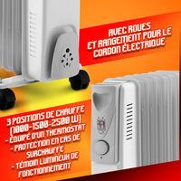 Radiateur bain d huile 2500W - 11 éléments - Warmt