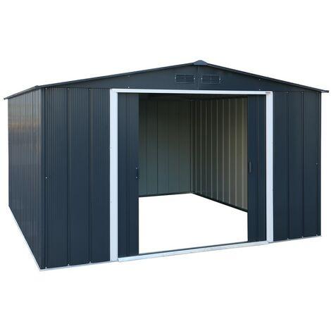 Casetas de Metal Eco Alcoy 10X12 gris Antracita. ideal para el jardin. Medidas 3.627 X 3.221 X 1.961 mm. Superficie 11,68 m2 de Duramax.