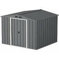 Casetas de Metal ECO Calpe 8X8 color Gris Antracita, ideal para su jardin. Medidas 2.423 x 2.620 x 1.910 mm. Superficie 6,35 m2 de Duramax.