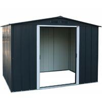 Casetas de Metal ECO Altea 8X6 color Gris Antracita, ideal para su jardin. Medidas 1.822 x 2.620 x 1.910 mm. Superficie 4,77 m2 de Duramax.