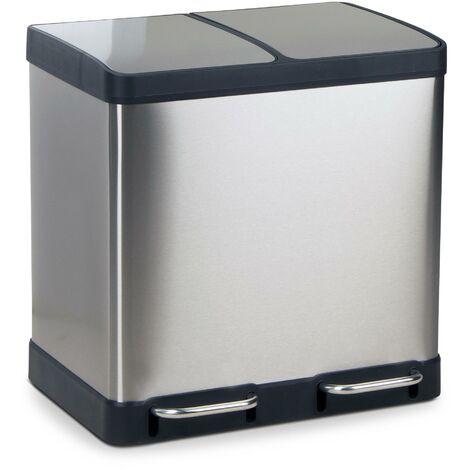 Abfalleimer OSLO aus Edelstahl, 2x20Liter, 49x39x49 cm (L/B/H)