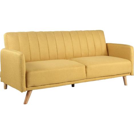 Sofa Cama 3 Plazas Clic Clac Damas Mostaza