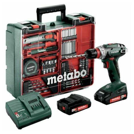Metabo BS 18 QUICK SET (602217880) PERCEUSE VISSEUSE SANS FIL 18V 2X2AH LI ION; CHARGEUR SC 30; COFFRET; ATELIER MOBILE (74 pcs) 602217880