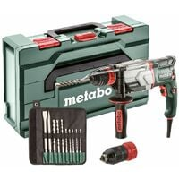 Metabo UHE 2660 2 QUICK SET MARTEAU MULTIFONCTIONS 2,8 J 800 W (600697510) avec FORETS SDS PLUS/BURINS (10 PCS)