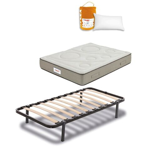 Pack Colchon Flex Visco Airvex Supreme 105x190 + Somier Dormilon con patas + Almohada Lider