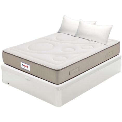 Pack Colchon Flex Visco Airvex Supreme 150x200 + Canape Abatible Madera 19 Blanco + 2 Almohadas Lider