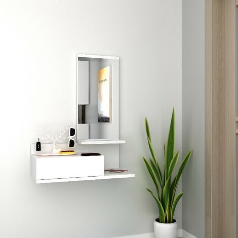 Vestiaire - Meuble d'Entree Mode avec Miroir, Tiroir, etageres - Blanc en Bois, 60 x 29,8 x 80 cm