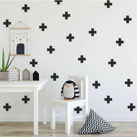 Sticker Plus - Croix - pour enfants - pour mur - Noir en Vinyle, 20 x 0,1 x 27 cm