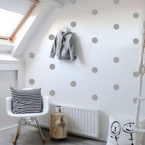 Sticker Polka Dots - Cercle - pour les enfants - au mur - Argent en Vinyle, 20 x 0,2 x 27 cm