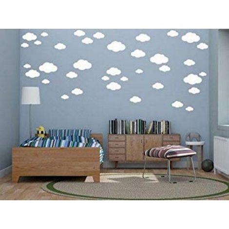 Sticker Cloud - Nuages ??- pour les enfants - Mur - Blanc en Vinyle, 35 x 0,15 x 20 cm