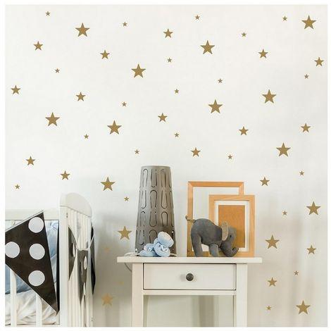 Sticker Stars - etoiles - pour enfants - pour mur - Or en Vinyle, 24 x 0,15 x 29 cm