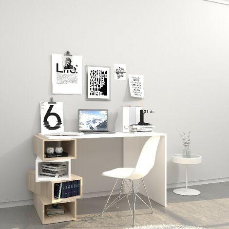 Bureau Damon - avec des etageres - du bureau, du studio, de la piece - Blanc, Sonoma en Bois, 120 x 60 x 75 cm