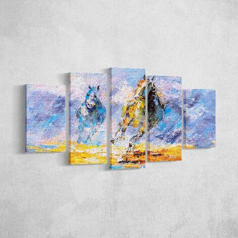 Tableau Chevaux - 5 pieces - Animaux - par salon, piece - Multicouleur en Polyester, Bois, 100 x 3 x 60 cm, -