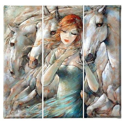 Tableau Chevaux - 3 pieces - Animaux - du salon, de la chambre - Multicouleur en Polyester, Bois, 69 x 3 x 50 cm, -