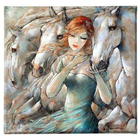 Tableau Chevaux - Art et graffiti - pour Salon, Chambre -Multicouleur en Polyester, Bois, 60 x 3 x 60 cm, -