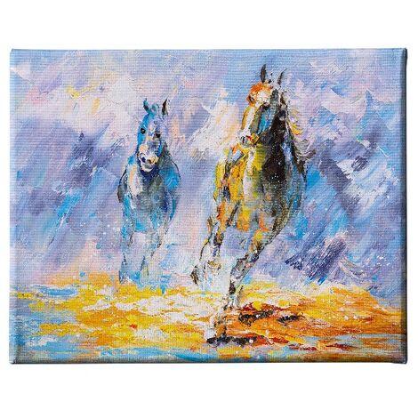 Tableau Chevaux - Animaux - pour Salon, Chambre - Multicouleur en Polyester, Bois, 45 x 3 x 70 cm, -