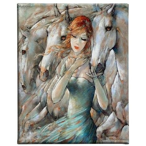 Tableau Chevaux - Art et graffiti - pour Salon, Chambre -Multicouleur en Polyester, Bois, 45 x 3 x 70 cm, -