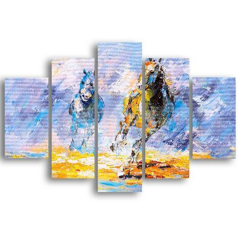 Tableau Chevaux - 5 pieces - Animaux - par salon, piece - Multicouleur en MDF, 95 x 0,3 x 60 cm, -