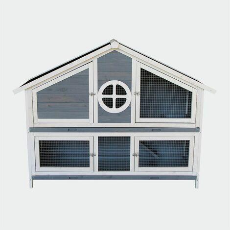 MercartoXL Clapier Poulailler Villa cage lapin cage lapin cage 144 x roue libre 57,5 x 110 cm
