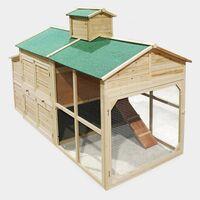 MercartoXL Poulailler Clapier Poulailler style Cottage avec imbrication Freilaufgehege