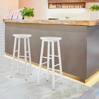MercartoXL Lot de 2 tabourets de bar & Bistro Tabouret dans les jambes en métal MDF modèle blanc