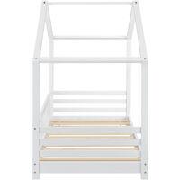Struttura Letto per Bambino a Forma di Casetta con Barriere Laterali - Zona di Riposo 80x160 cm - Letto d'Infanzia con Sponde - Bianco Opaco
