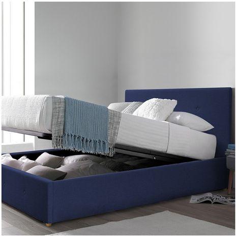 Lit coffre Carlota | En tissu capitonné | 140x190 cm | Matelas en option | Bleu foncé | Sommier inclus