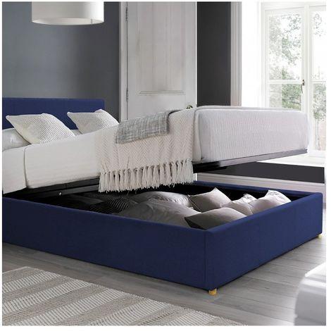 Lit coffre Carlota | en tissu | 140x190 cm | Bleu foncé | Sommier inclus