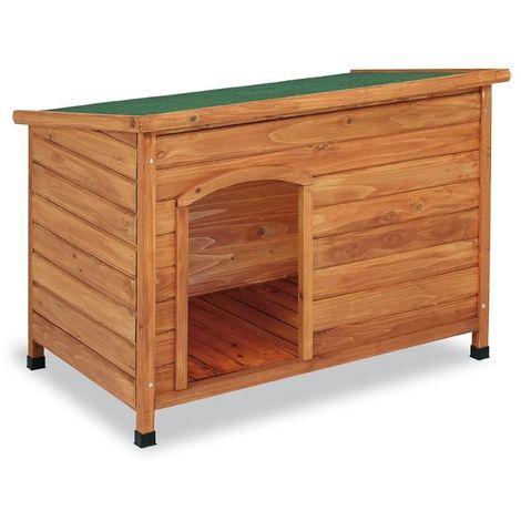 Caseta para perros de madera techo plano S