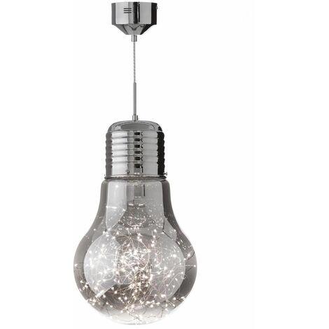 Lámpara led colgante moderno plateada de 45x30x30 cm