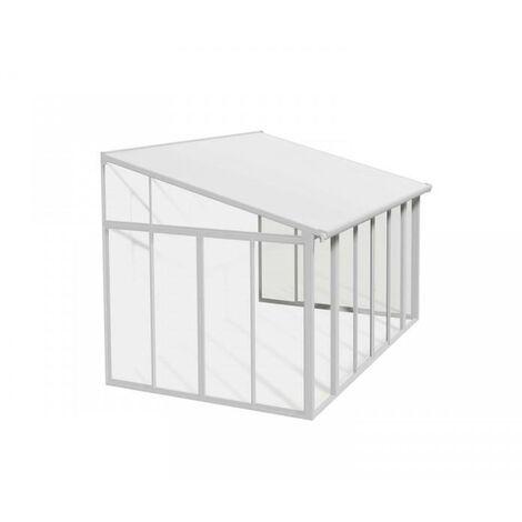 Pergola Cerrada San Remo Marquesina De Aluminio Blanca Con Vidriado De Policarbonato Blanco Palram 425X294 Cm - Blanco